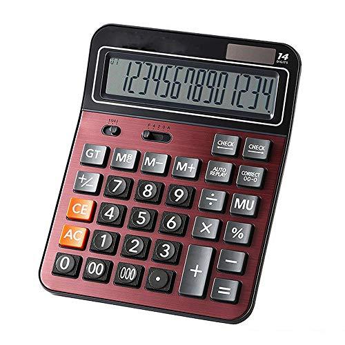 Mengshen Calculadora Sobremesa Grande Bateria Solar Calculadora Comercial de función estándar de Doble Potencia con Pantalla LCD Grande de 14 dígitos Conveniente para Oficina y hogar