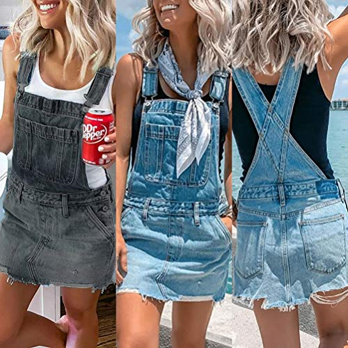 Onsoyours Abito Gonna Donna in Denim Salopette Gonna Donna Elegante Jeans Overall Tuta Taglie Forti con Bretelle e Tasche B Blu 42
