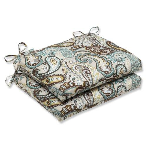 Pillow Perfect Outdoor/Indoor Tamara Paisley Quartz Square Corner Seat Cushions, 18.5' x 16', Blue, 2 Count