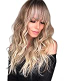 Long Wavy Blond Wig with Fluffy Air Bangs for Women, Long Blonde Wavy Synthetic Wig with Dirty Blonde Roots Mixed Soft Light Blonde24 Inch