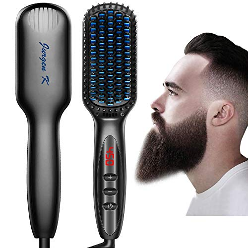 Beard Straightener for Men, Ceramic & Ionic Beard Brush for Men with Fast Heating and Anti-Scald, Heated Beard Comb Beard Straightener Brush, Dual Voltage Beard Straightening Comb for Men Gifts