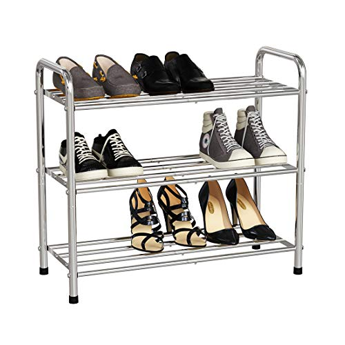 """VCFormark 3 Tier Shoe Rack Stainless Steel Shoe Racks for Closets 9 Pairs Shoes Organizer Boot and Sneaker Shelves for Entryway 24""""W x 102""""D x 216""""HSilver"""