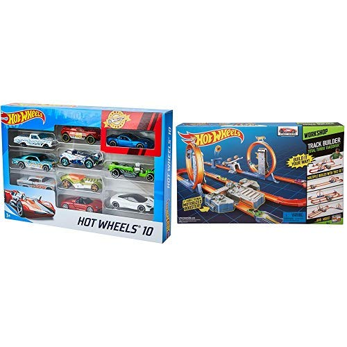 Hot Wheels 10-Pack (Styles May Vary) [Amazon Exclusive] AND Hot Wheels Track Builder Total Turbo Takeover Track Set [Amazon Exclusive]