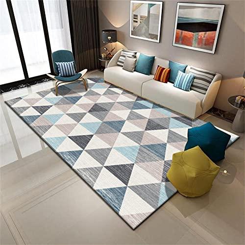 Alfombra Actividades para Bebes Alfombra Azul, patrón de triángulo, balcón Simple, Alfombra de Estera de Yoga con Estilo alfombras Grandes -Azul_Los 40x60cm