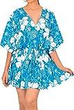 Traje de ba�o de ba�o Traje de ba�o para Mujer t�nica Caft�n Parte Superior del Poncho Encubrimiento Ropa de Playa Azul