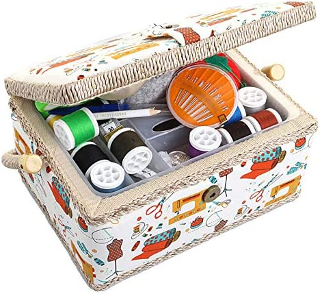 Medium Sewing Basket Sewing Storage and Organizer with Complete Sewing Kit Accessories Included product image
