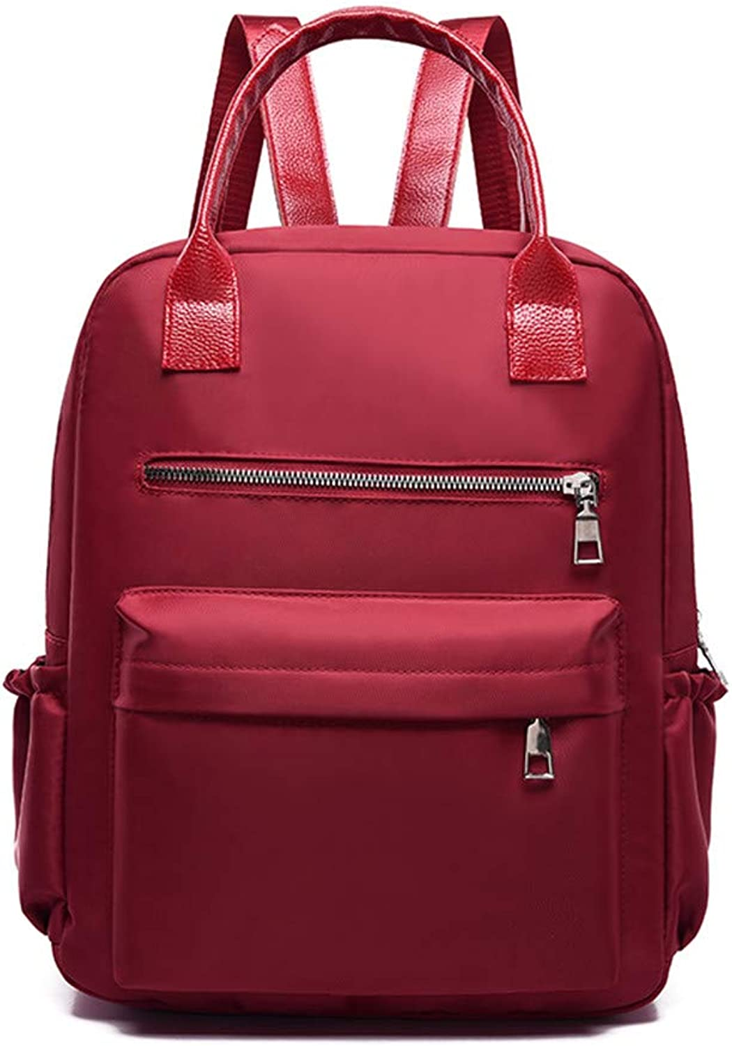 Oxford Dualuse Backpack Nylon Bag Travel Backpack, red Casual Practical Simple