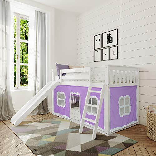 Max & Lily Low Bunk Bed with Slide and Purple Curtains, Twin, White
