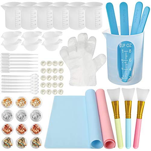 Complete Silicone Resin Measuring Cups Tool Kit- Reusable Nicpro 250 & 100 ml Measure Cups, Resin Mat, Silicone Popsicle Sticks, Brushes, Pipettes, Gloves for Epoxy Resin Mixing, Molds, Jewelry Making