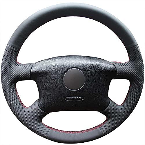 MPOQZI Funda para Volante de Coche de Cuero Negro, Apto para Volkswagen VW Passat B5 1996-2005 Golf 4 1998-2004 Seat Alhambra 2001-2009