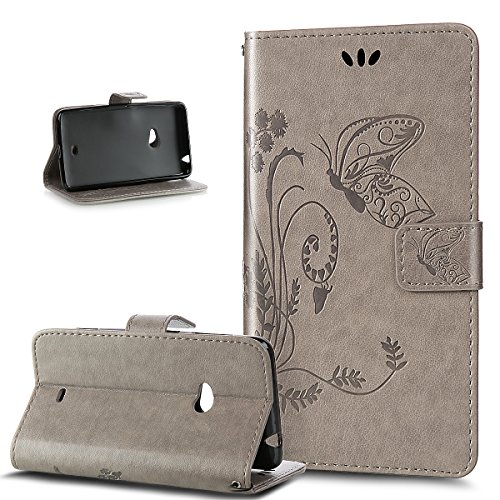 Kompatibel mit Nokia Lumia 625 Hülle,Nokia Lumia 625 Handyhülle,Prägung Groß Schmetterling Blumen PU Lederhülle Flip Hülle Ständer Karten Slot Wallet Tasche Case Schutzhülle für Nokia Lumia 625,Grau