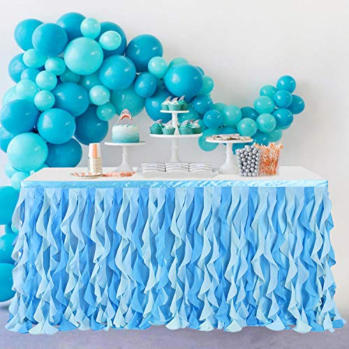 Leegleri Tulle Curly Willow Table Skirt for Rectangle Table, Ocean Blue Tutu Ruffle Frozen Table Cloth for Baby Shower, Under The Sea Birthday Party, Baby Shark (6ft Mermaid Table Skirt)