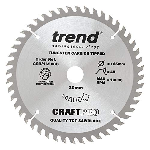 Trend CSB/16548B Craft Pro Trimming Crosscut TCT Blade Ideal for Makita, Dewalt, Bosch, and Evolution Circular Plunge Saws, Tungsten Carbide Tipped, 165mm x 48 Teeth x 20mm Bore