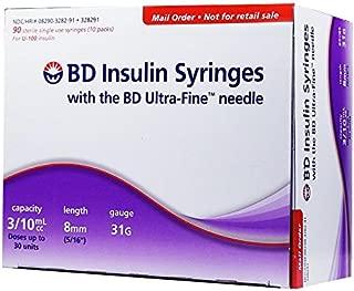 BD Ultra-Fine U-100 Insulin Syringes - Short Needle - 31 Gauge 3/10 cc 5/16 inch Box of 90