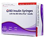 BD Insulin Syringes with BD Utra-Fine Needle - For U-100 insulin - 31 Gauge 3/10 cc 5/16 inch - 100 count (10 packs of 10)
