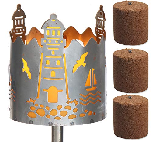 Novaliv Gartenfackel Leuchtturm Feuerschale Metall mit Stiel und 3xBrennmittel