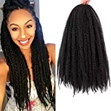 4Packs Marley Hair for Twists Braiding Hair Afro Kinky Twist Crochet Braids 18Inch Synthetic Fiber Hair Extensions for Women(1B#)