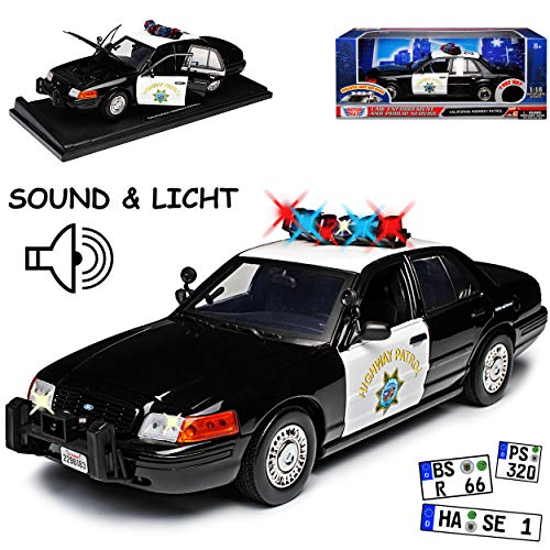 Motormax Ford Crown Victoria California Highway Patrol Police Polizei mit Licht und Sound 1/18 Modell Auto