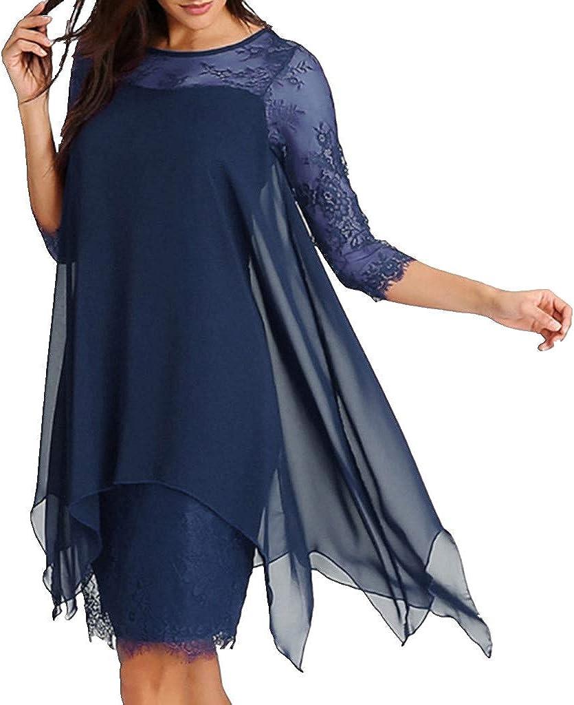 Womens 3/4 Sleeve Round Neck Flowy Double-Layered Mini Lace Chiffon Dress Plus Size S-5XL