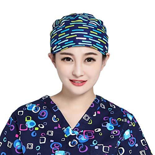 Capuchon de Gommage D'infirmière Réglable pour Femme Chapeau de Docteur en Chirurgie Chirurgicale en Queue de Cheval avec Bandeau Anti-Transpiration pour Couverture de Cheveux Longs à L'hôpital