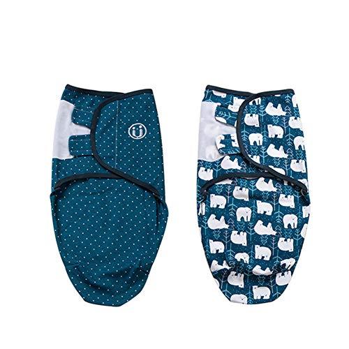 Baby Pucksack Wickel-Decke - 2er Pack Universal Verstellbare Schlafsack Decke für Säuglinge Babys Neugeborene Unisex (0-2 Monate, Blau)