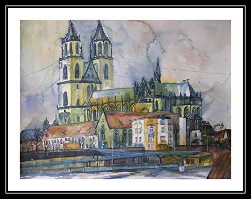 Magdeburg Dom IV 46x61cm großes original Aquarell