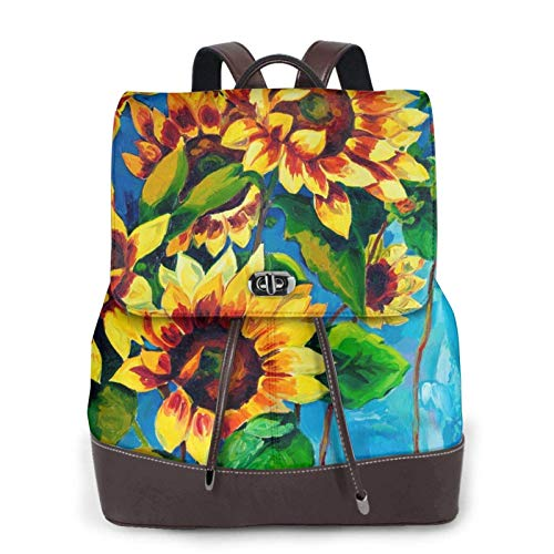 Women's Casual Leather Backpack Durable School Backpack, Sunflower Painting Printed Bookbag Fashion Travel Shoulder Bag