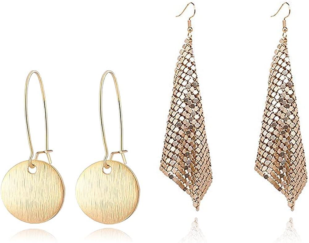 GIMEFIVE Gold Sequin Earrings Lightweight Metal Mesh Grid Tassel Drop Dangle Earrings Long Hook Earrings Women Girls