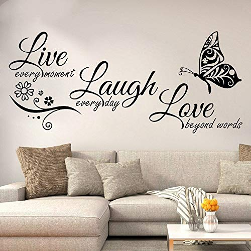 Rohome Adesivo da parete con citazioni ispirative, Live Every Moment Laugh Every Day Love Beyond Words, adesivo impermeabile in PVC, per divano, soggiorno, casa, decorazione da parete fai da te