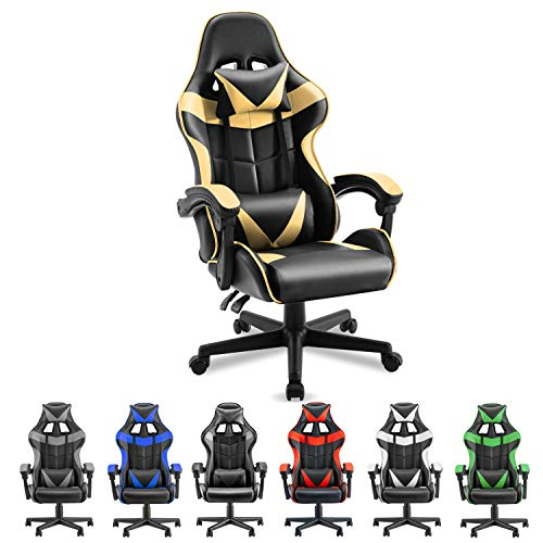 Soontrans PC Gaming Chair Ergonomic Office Chair Racing Chair for Gaming Computer Chair,E-Sports Chair with High-Back,Adjustable Headrest and Lumbar Support (Matte Golden)