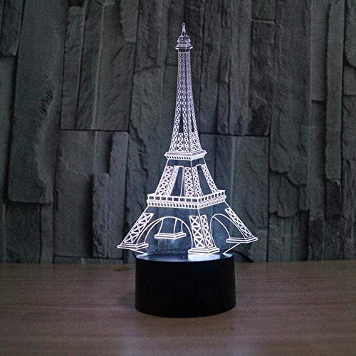 Diapositiva 3D luz de noche led visual Torre Eiffel luz de siete colores dormitorio luz sala de educación pequeña lámpara de mesa recuerdo