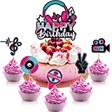 46 Pieces Happy Birthday Cake Topper Musical Cupcake Toppers Set Musical Social...