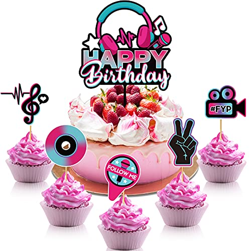 46 Pieces Happy Birthday Cake Topper Musical Cupcake Toppers Set Musical Social Media Cake Toppers Music Notes Birthday Cake Decorations Party Dessert Cupcake Toppers Picks for Birthday Party Supplies