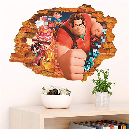 3D Wreck It Ralph Breaking Through Wall Decals Bedroom Home Decor Cartoon Ralph Breaks The Internet Wall Stickers PVC Posters