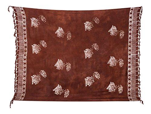Kascha Sarong Pareo Dhoti Lunghi ca. 170cm x 110cm Braun Batik mit Fisch Motiv Handgefertigt und Kokosnuss Schnalle im Raute Design