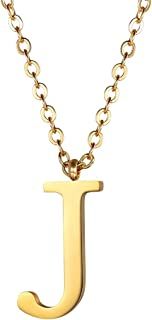 PROSTEEL Initial Letter Necklace, A to Z Trendy Alphabet Name Necklaces, Stainless Steel, Black/18K Gold Plated, Womens Mens Personalized Jewelry Gift