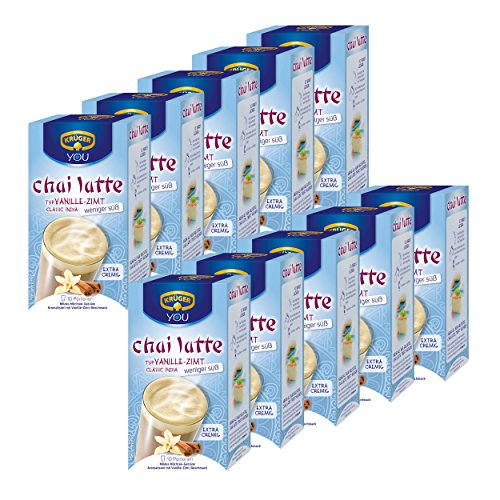 Krüger Chai Latte Classic India minder zoet, vanille en kaneel, milde melk drinken thee, 10 Pakken, 10 x 10 Zakken
