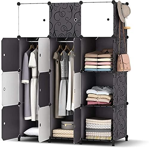 SIMPDIY Portable Kleiderschrank, Faltschrank mit hängendem Rod, modularer Kombischrank für hängende Kleidung, 12 Würfel Platzsparendes Steckregalsystem, Platzsparende Garderobe (Schwarz und weiß)