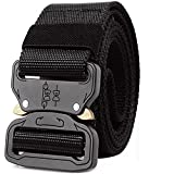 GUSTAVE Men's Nylon Military Style Webbing Belt with Metal Buckle (Black)