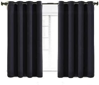 TEKAMON 99% Blackout Curtains Thermal Insulated Solid Grommet 2 Panels Set Draperies, Room Darkening Panels for Living Room, Bedroom, Nursery (W52 X L63 per Panel, Jet Black)