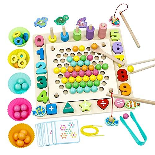 Juegos de Madera Clip Beads Juegos Educativos Juguetes Montessori Jjuego Pesca Magnetico Juegos de Mesa Regalos para Niños 3 4 5 6 Años Educación Temprana Juguete de Memoria
