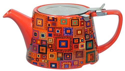 Kitchen Craft London Pottery Company Théière avec Filtre Ovale en céramique, Céramique, Rouge, 23 x 12.5 x 23 cm