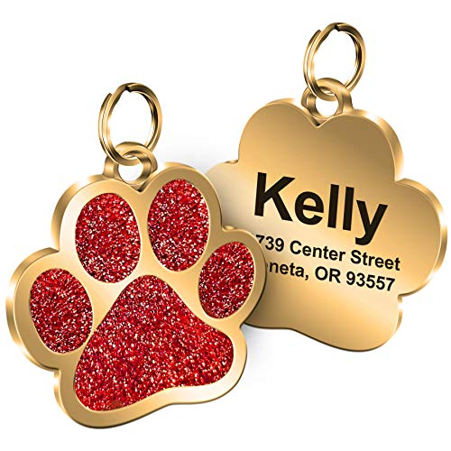 Personalized Engrave Pet ID Tags Paw Shape Custom Glitter Pet Supplies Engrave Name Number Elegant Plated Unique Gift for Cats Little Dogs (Red)
