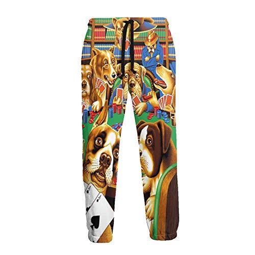 Inaayayi Dogs Playing Poker Cards Bibliothek Unisex Jogger Casual Pants 3D Print Sporthose Herren Jogging Sweatpants Gr. 41-44.5, weiß