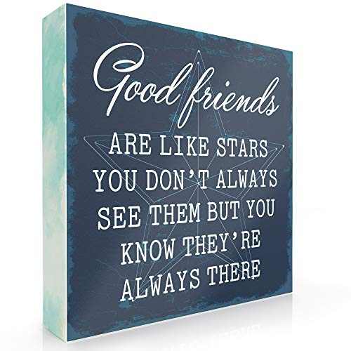 Barnyard Designs Good Friends are Like Stars Box Wall Art Sign, Primitive Country Farmhouse Home Decor Sign with Sayings 6' x 6'