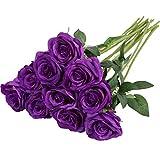 Nubry Flor de Rosa de Seda Artificial de un Solo Tallo de Rosa Falsa para el Ramo de Bodas Arreglos Florales Decoración del Centro de Mesa para Fiestas en casa, 10pcs (Púrpura)