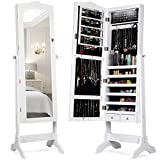 Giantex Lockable Standing Jewelry Armoire with 14 Auto-on LED & Full Length Mirror, 14 LEDs Jewelry Mirrored Cabinet and Storage Organizer with 2 Drawers, 4 Angles Adjustable (White)