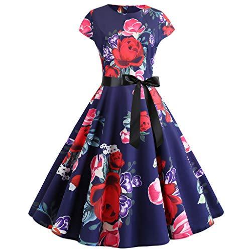Zegeey Damen Kleider Vintage Blumen Drucken Elegant Kleider Mit äRmeln Festlich Party Cocktail Abend Rockabilly A-Linie Swing Kleider Schicker(A6-Marine,38 DE/M CN)