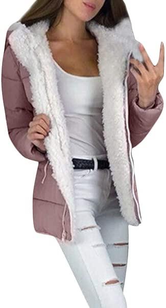 TIANRUN Women S Plus Velvet Cardigan Hooded Jacket Winter Thicken Coats Warm Zipper Outerwear