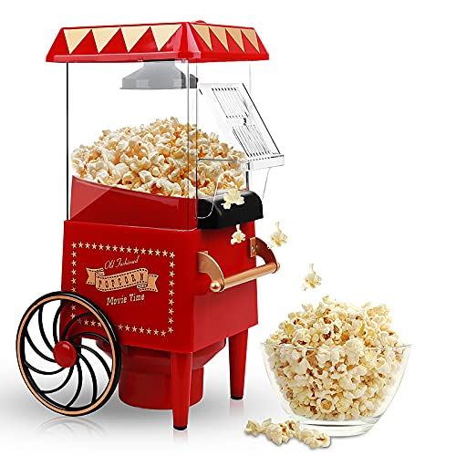 Popcorn Maker, Hot Air Popcorn Machine 1200W Vintage Tabletop Electric Popcorn Popper, Healthy and...